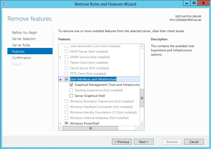 Using the Remove Roles and Features Wizard to Configure Windows Server Management Interfaces